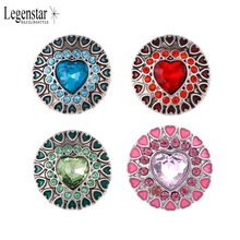 20mm New Arrvial Love Themed Crystal Heart Snap Button for Women