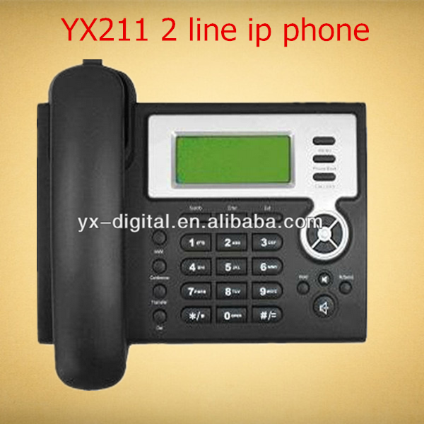 YX211 voip product 2 line voip sip phone asterisk 2 sip ip voip payphone