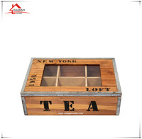 2017 season new design solid wood tea box with glass window