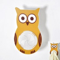 Owl design adhesive tape kitchen towel holder