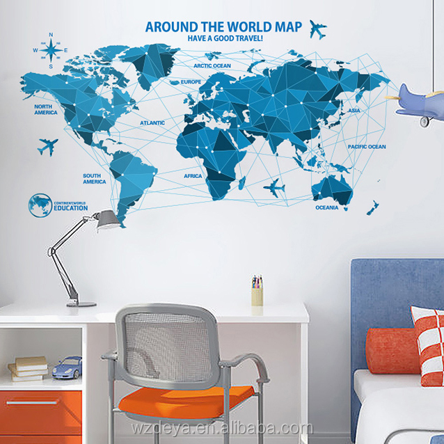 new design world map wall sticker decoration wall decor
