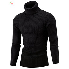 Long sleeve turtleneck sweater men plain knitted sweater mens slim fit knit pullover sweater wholesale