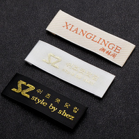 Wholesale Custom brand logo woven labels cheap white label clothing fashion