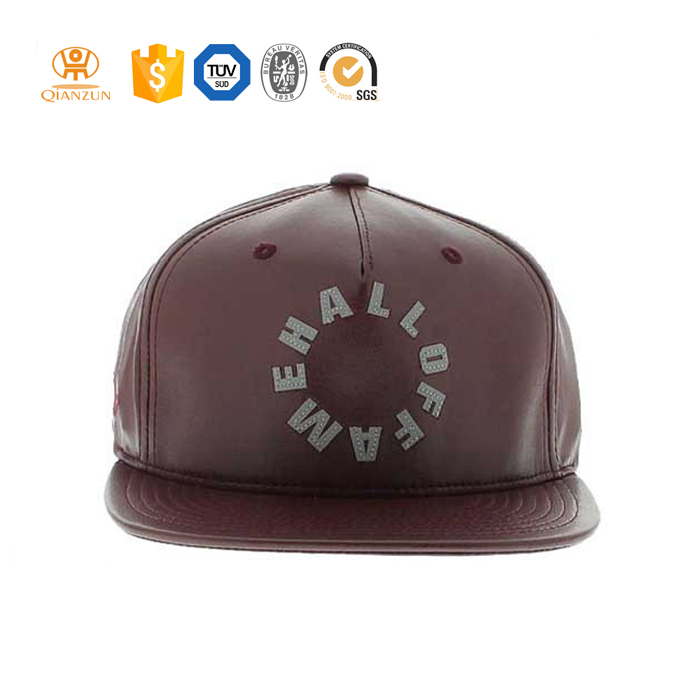 Custom blank brown leather flat brim real leather snapback hat