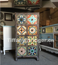 Caoxian solid wood printing color antique vintage cabinet <strong>furniture</strong>