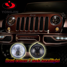 Super bright 75w / 90w H4 high low beam black and chrome canbus led headlight for wrangler with angel eyes