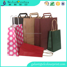 Small Size Pink color Dot Paper gift favor bag/ shopping paper bag with handle