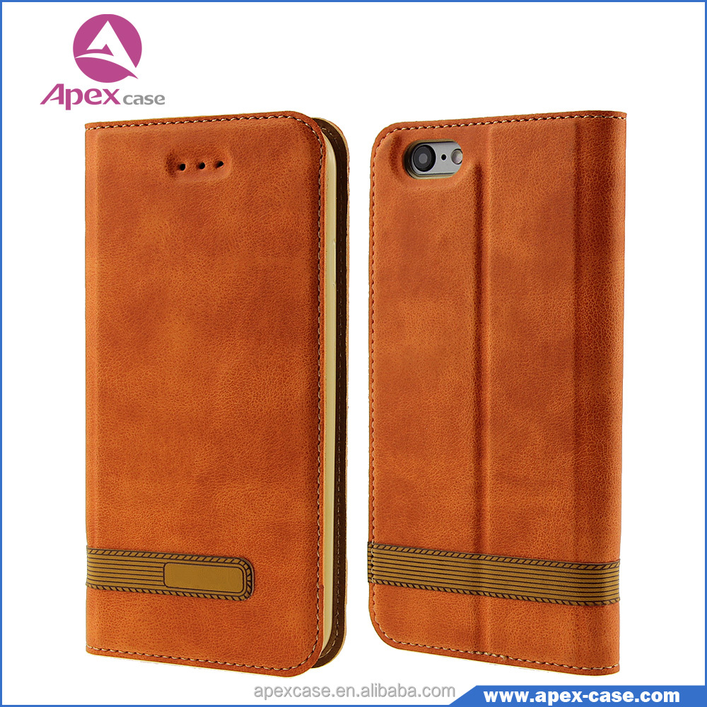 china manufacture PU leather flip wallet for cover iphone 6 case card
