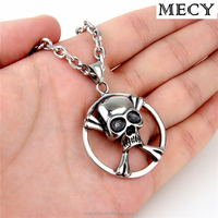 MECY LIFE high quality fashion stainless steel circle skull beads chain pendant