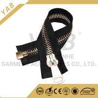 Garment accessory 15# Metallic zipper open end with large auto lock slider and fancy zippers puller