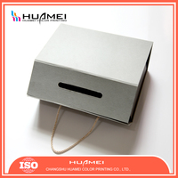 Foldable Grey Paper Box with Draw String