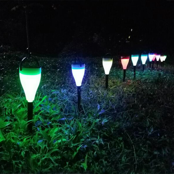 Plastic RGB Garden Decorative Lawn Lights LED Solar Led Garden Bollard Stick Lights