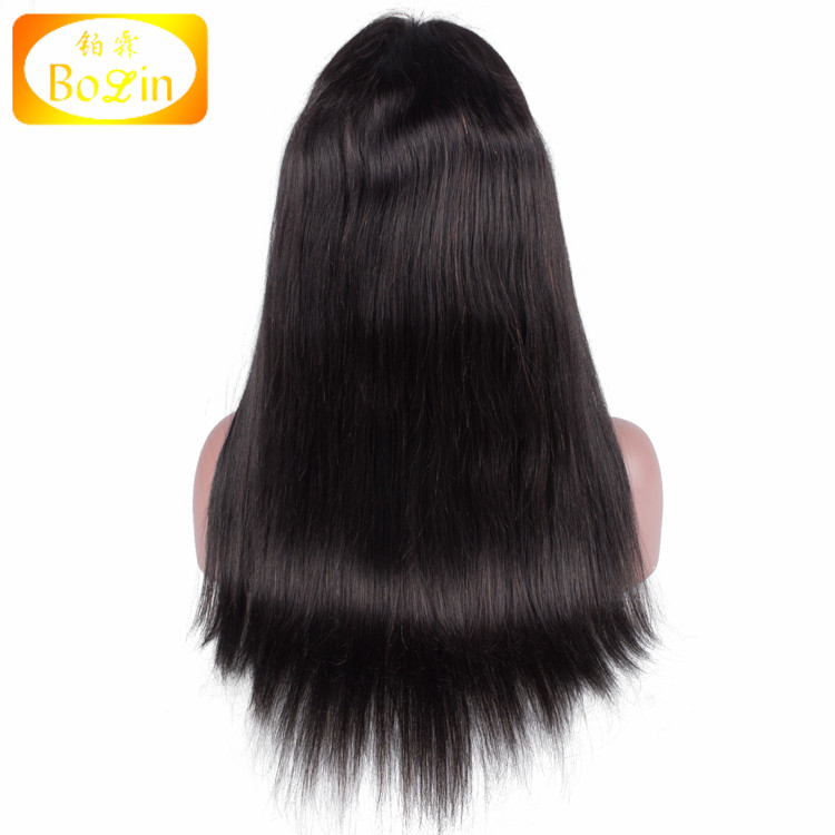 China manufacturer wholesale cheap 100% virgin black women straight brazilian human hair lace front wig