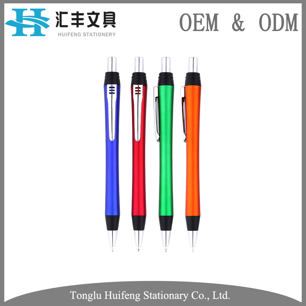 HF5234 hot sale high quality custom metal clip plastic ball point pen with gel refill