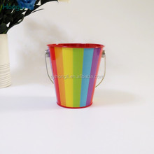 promotional beautiful printed bucket tin box with handle/bucket shape gift peicial tin box with handle/super mini tin