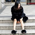 CX-G-A-266 Eco-Friendly Keep Warm Long Black Fox Fur Hooded Coat