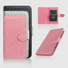 OEM ODM Woven Pattern Universal Leather Holster Phone Case