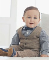 2015 New product fashion baby boys party cloth suit with pants, waistcoat and bowknot shirt