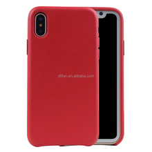 DFIFAN hottest smooth touch feeling pu leather case for iphone x Aluminum metal buttons genuine leather case for apple iphone x