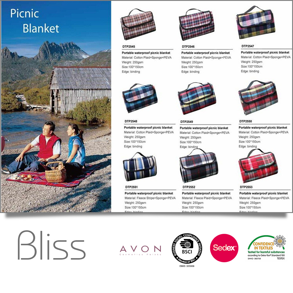 SEDEX & AVON & BSCI Factory and Free Sample Availabel printed polar fleece and waterproof back foldable picnic blanket