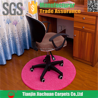 polyester microfiber pvc backed customized pink office chair mat