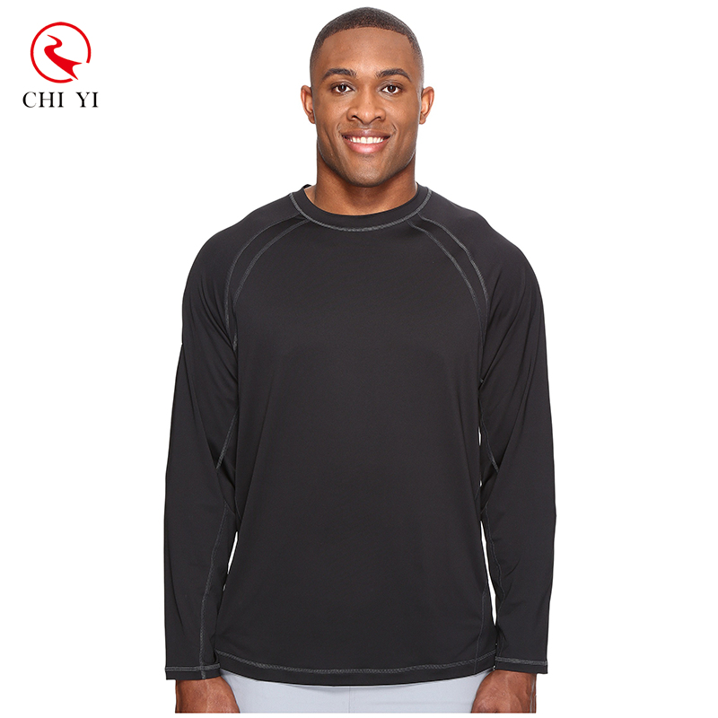 OEM custom men long sleeves black rash guard soft light UPF 30+ rashguard tee
