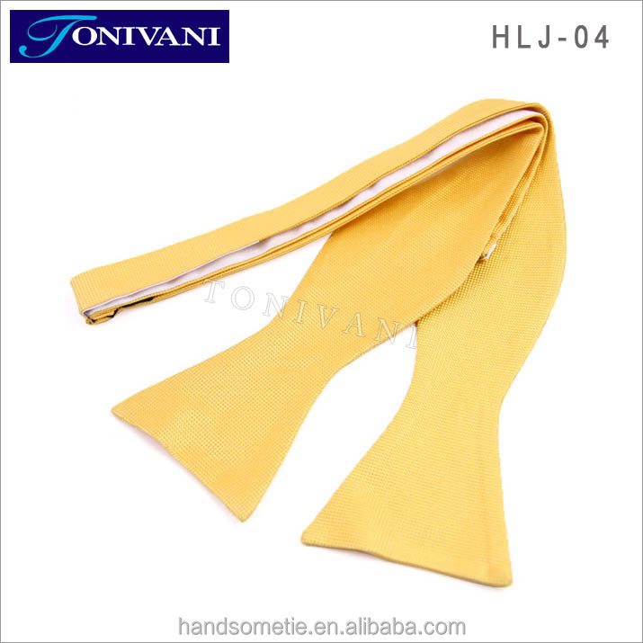 Cheap Yellow Self Tie Bow Tie For Men
