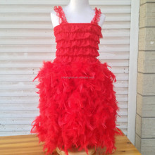 2015 Christams Day Girls Red Feather Dress fluffy Dresses Puffy dresses