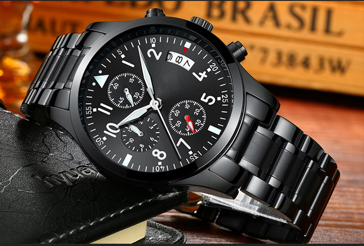 Trendy wrist watches for men cool black IP plating customer logo
