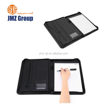 A4 Conference Folder Zipped Folio Case PU Business Organiser Leather Portfolios with 2 Ring Binder