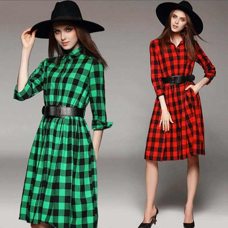 WA1963 plus size women's slim plaid long-sleeved fashion dresses with belts