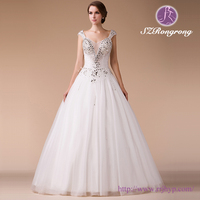 HM96148 Stunning Floor-Length Jeweled Cap Sleeve Illusion Bodice Wedding Dress