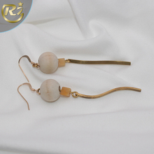 EH-19 Personality Gentlewomanly Handmade Wooden Ball Gold Drop Woman Hook Helix Piercing Earring