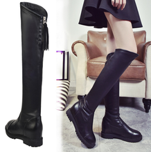 ZY1767A Flat-bottomed casual thick with zipper straps over knee rubber boots