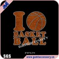 Wholesale I love basketball rhinestone glitter transfers for T-shirt