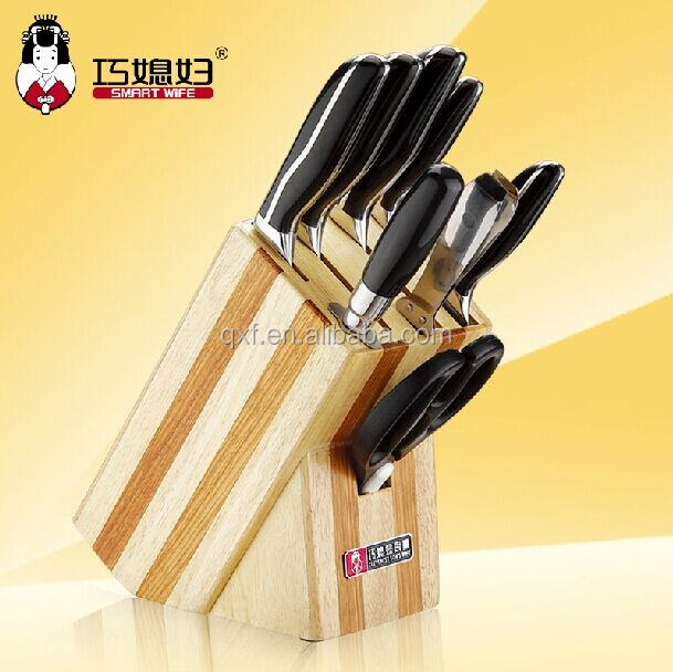 5Cr15MoV stainless steel kitchen 9pcs knife set with wood knife block