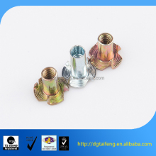 galvanized carbon steel 4 prong furniture t nuts