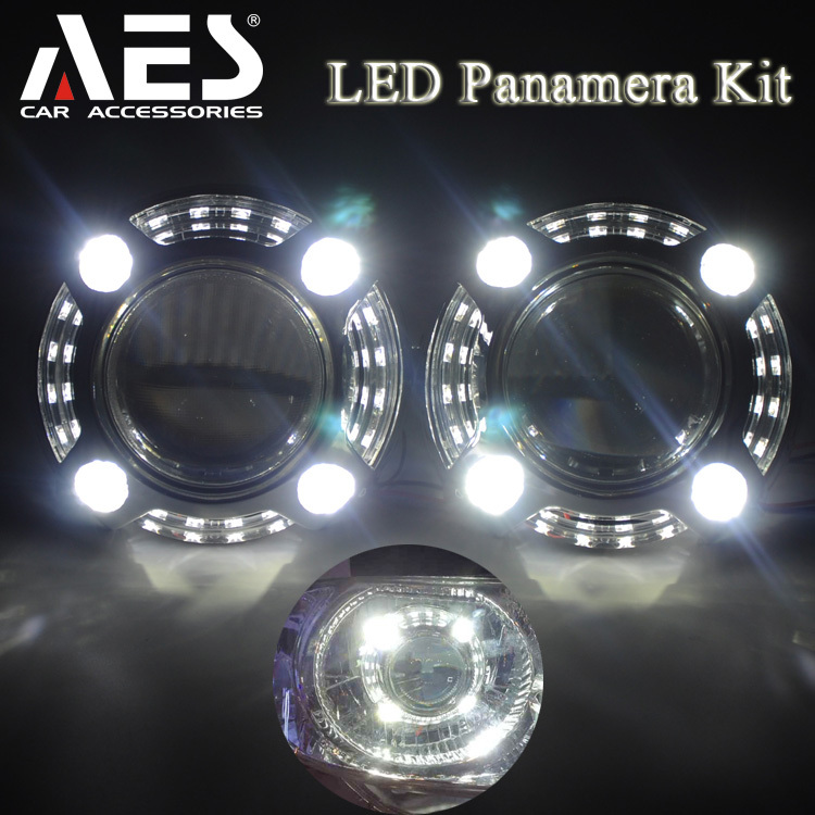 2015 new arrivel!AES new LED Panamera Bixenon projectorlen kit directly for H4 H7 headlight