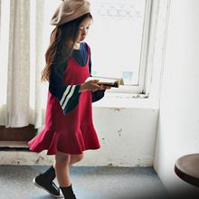 S32638W Hot sale Spring sleeveless fashion falbala kids frocks design girls dress