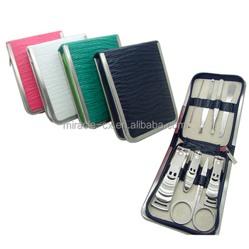 PU 8pcs metal frame zipper bag manicure set nail clipper set