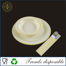 China Plate PS Plastic Silver and Gold Rim Bone China Dinner Plate
