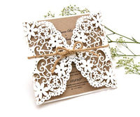 Kraft Paper Folded Laser Cut Design Wedding Invitation Cards