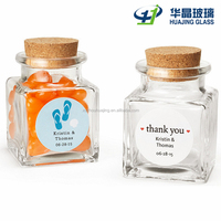 45ml custom made square glass spice jar with cork top wholesale