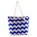 Custom wave stripe 100% cotton canvas summer beach bag with rope handles for woman