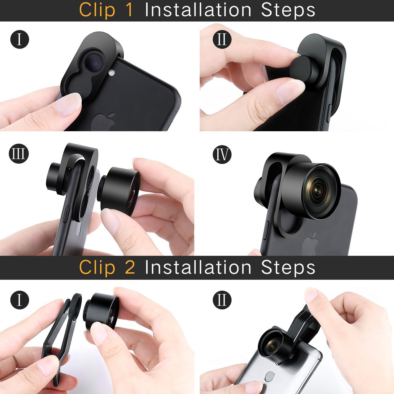 4 in 1 cell phone camera optical lens set for mobile phone camera lens