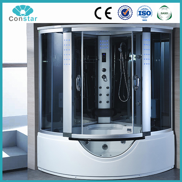 Luxury multifunctional whirlpool shower room hot bathroom cabinet computerized steam shower cabin with big massage bathtub