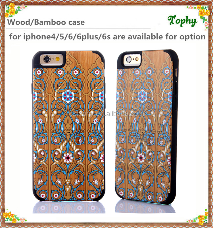 100% Real Natural Wood Phone Case For iPhone 6 6 plus Back Cover Logs+PC Printing Pattern For iPhone6