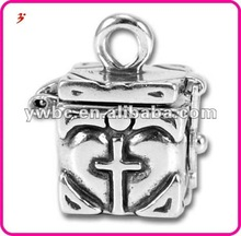Fancy charms Antique Silver Plated Prayer Box - Cross(H101975)