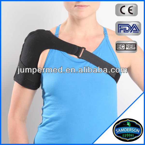 Black Sports Shoulder Brace Support Strap Wrap Belt Band Pad