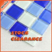 Stock blue swimming pool tiles price square crystal glass mosaic pattern 25x25
